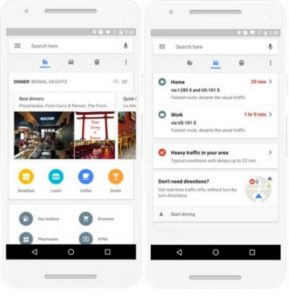 The new update brings different tabs for places, driving, and transit (Google)