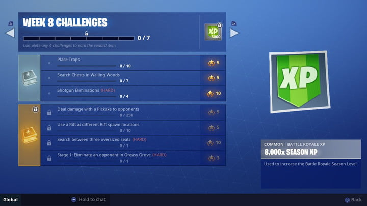 fortnite search between three oversized seats challenge guide - fortnite search between 3 chairs